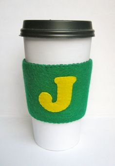 Personalized Initial Cup Sleeve - Coffee Cup Cozy by QuarterLifeLuck, $7.50