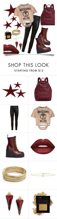 """""""No Shame in My Pleather Game"""" by taychanae93 ❤ liked on Polyvore featuring STELLA McCARTNEY, Givenchy, Moschino, Sacai, Lime Crime, Design Lab, Lee Renee, Kendra Scott and Forever 21"""