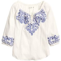 H&M Bohemian embroidered blouse (195 MXN) ❤ liked on Polyvore featuring tops, blouses, shirts, long sleeve tops, white, white shirt, long-sleeve shirt, long sleeve blouse, long sleeve shirts and bohemian shirts