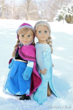 From the blog Clarisses Closet: Clarisses sister Camille as Anna and her BFF Annie as Anna in her other dress.