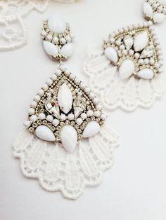 White Earrings, Rhinestone Earrings, Boho Earrings, Etsy Earrings, Statement Earrings, Earrings Handmade, Handmade Jewelry, Bridesmaid Earrings, Wedding Earrings