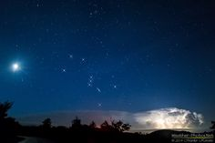 Moon, Orion and flashing storm by Marko Korošec on 500px