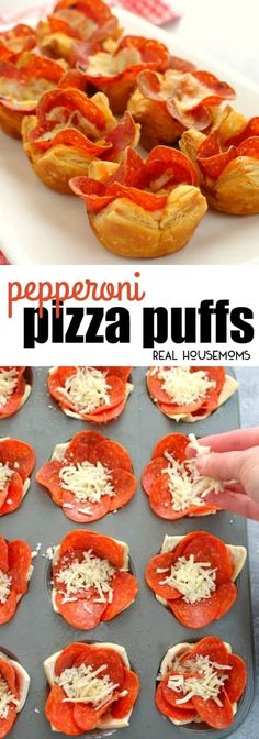 These Pepperoni Pizza Puffs are the perfect finger food for your next party! Made with 4 ingredients, these easy puff appetizers come together in moments. via @realhousemoms