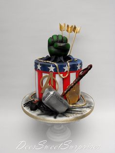 Avengers birthday cake for Riley. - DeessweetSurprises - Visit to grab an amazing super hero shirt now on sale!