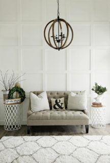 Custom Built Modern Farmhouse Home Tour with Household No 6 | White wood board and batten wall treatment - Wood orb chandelier