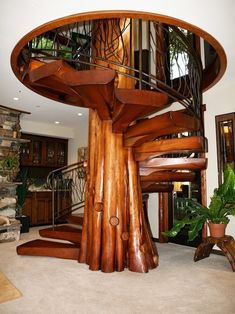 Collection of spiral staircase designs suitable for small homes. The design of a spiral staircase will not take up much space. Tree Interior, Interior Design, Future House, Staircase Design, Wood Staircase, Staircase Ideas, House Staircase, Modern Staircase, Log Homes