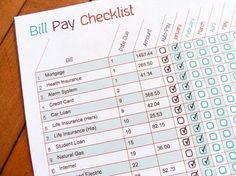 Printable Bill Pay Checklist - check off your bills as you pay them, so you don't forget to pay something