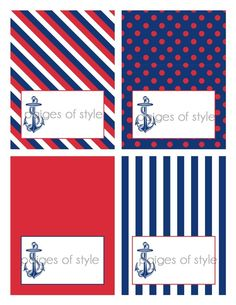 Nautical. Red, blue, and white.