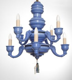 azure chandelier with raffia, beads and shell. That blue!