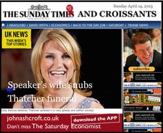 The Sunday Times and Croissants - on the death of Baroness Thatcher and the passing of a leader