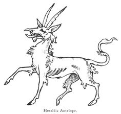 This fictitious animal, when depicted in heraldry, has a body like that of a stag, the tail of a unicorn, a head like the heraldic tiger, with two serrated horns, and a tusk growing from the tip of his nose, a row of tufts down the back of his neck, and the like on his tail, chest and thighs. Thus represented it is termed an heraldic antelope to distinguish it from the real or natural antelope, which is also borne in modern coats of arms.