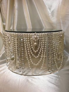 Vintage inspired Pearl & crystal design wedding cake stand all sizes round and…