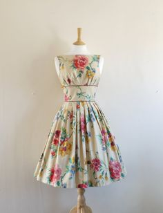 Watercolour Rose Print Prom Dress - Size 10. Made by Dig For Victory. £99.00, via Etsy.