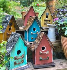 Vintage birdhouses are handcrafted from sturdy barn wood to last for years of happy birdie families! Small birdhouse series features sealed tin roof with vintage drawer pull adornments. Unique bird house offers a rustic focal point and makes a perfect nest site and roost for feathered friends. Ventilation and drainage keep nestlings cozy, with easy clean-out on back and generous base for quick mounting. 1-1/2-inch entry suits bluebirds, tree swallows, wrens, chickadees and other smaller…