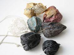 toril bonsaksen's electroformed seed pod jewelry