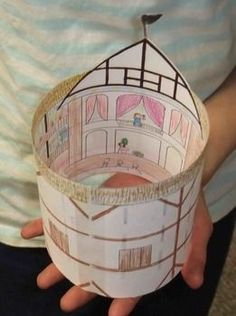 After your students learn about or research the Globe Theater, have them make a simple model of the Globe Theater. Copy this blackline drawing of the inside and outside of the Globe Theater onto legal sized paper (two-sided). Students will color and& Drama Teacher, Drama Class, Shakespeare, Globe Theater, Teaching Theatre, Theatre Games, Musical Theatre, Drama Education, Make Your Own