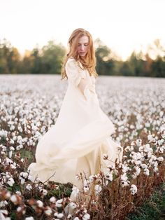 Bride in Cotton Fields | photography by http://www.michaelandcarina.com/