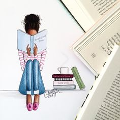 """New print, """"Bookshelf Chic"""", has joined the collection of bibliophiles! Shop then all by clicking the link in my bio 💗📚 Black Girl Art, Black Women Art, Black Art, Art And Illustration, Arte Black, Natural Hair Art, Reading Art, Afro Art, African American Art"""
