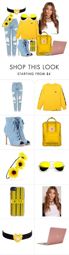"""""""fashion icon"""" by sierraclass2016 ❤ liked on Polyvore featuring Topshop, HUF, Gianvito Rossi, Fjällräven, Forever 21, ZeroUV, Casetify, Kenneth Jay Lane and Incase"""