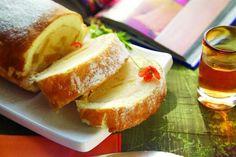 Pionono con crema pastelera y duraznos