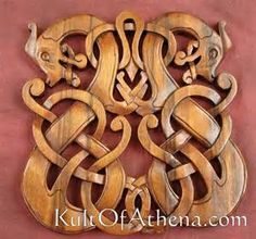 1504231650 - Carved Wood Viking Dragons Plaque - $59.95