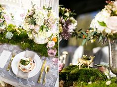 Woodland inspired tablescape with moss runner & gold painted woodland creatures