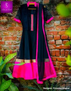 ★ Product Code PS28 ★Black is the evergreen color of fashion. So Here we have a Charming black Anarkali with velvet yoke, Hot neon borders along with black dupatta.