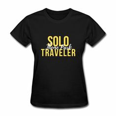 Solo Theme Park Traveler Shirt Yellow Text. Be prepared for your next travel adventure!  Have your best theme park outfit. #travel #packinglist #disneyworld #universalorlando #disneyplanning #themepark #amusementpark #solotravel