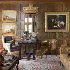 Tudor Style Oak Paneling Leather Chair And Ottoman Room Styling