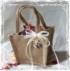 By The Sea Burlap Flower Girl Basket - Spring Summer Beach Weddings - Destination - Starfish And Seashells Wedding. $15.00, via Etsy.