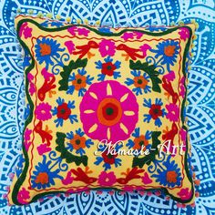 16'' 100% Cotton Indian Suzani Art Floral Design Embroidery Pillow Cushion Cover #Unbranded #ArtDecoStyle