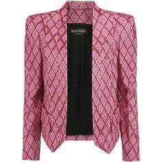 Balmain Metallic jacquard blazer ($1,310) ❤ liked on Polyvore featuring outerwear, jackets, blazers, pink, balmain, balmain jacket, black blazer, black jacket and metallic jacket