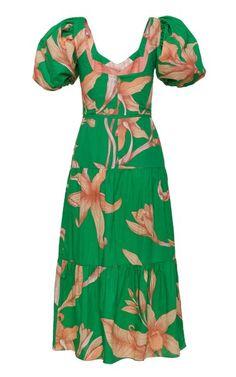 Culture Cotton Midi Dress By Johanna Ortiz | Moda Operandi Tiered Dress, Hemline, Organic Cotton, Cold Shoulder Dress, Short Sleeves, Culture, Summer Dresses, Fashion Design, Shopping