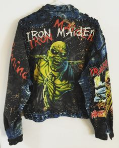 Iron Maiden denim jacket from ChadCherryClothing. Casual School Outfits, Punk Outfits, Cosplay Outfits, Cool Outfits, Diy Leather Jacket, Denim Jacket Men, Men's Denim, Men Shorts, Denim Jackets