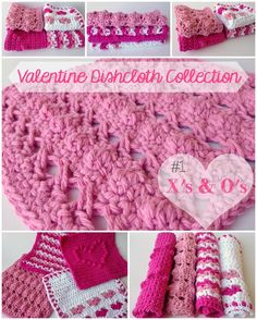 5 Little Monsters: Valentine Dishcloth Collection: Heart Rows ~ free pattern Holiday Crochet, Crochet Gifts, Free Crochet, Crochet Baby, Knit Crochet, Grannies Crochet, Crochet Hearts, Crochet Patron, Crochet Dishcloths