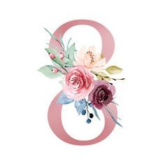 Number eight with watercolor flowers roses and leaf. Perfectly for wedding invitations, greeting card, logo, poster and other floral design. Isolated on white background.: comprar esta ilustración de stock y explorar ilustraciones similares Fancy Letters, Floral Letters, Letters And Numbers, Painted Letters, Hand Painted, Table Name Cards, Floral Printables, 8th Of March, Free Graphics