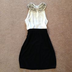 Flower peter pan collar white black small Very cute and never worn white and black knee length dress! Fitted and cute. Zips up in back and has an opening. The top half is sheer Dresses