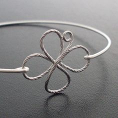 Bangle Bracelet 4 Leaf Clover   Sterling Silver by FrostedWillow, $24.95