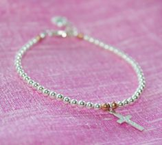Sale, use shop coupon) Cross Charm Bracelet, Sterling Silver Bracelet on Etsy, $28.00 CAD