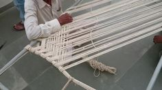 Website: Making of rope bed with Simple Method. Making of rope bed with Simple Method. Charpoy is a bed used all over Pakistan. Macrame Chairs, Ladder Back Chairs, How To Make Rope, Diy Braids, Indian Crafts, Rope Hammock, Macrame Tutorial, Hand Art, Cardboard Crafts
