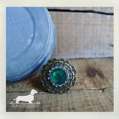 Emerald Cirque Adjustable Ring  VintageStyle by PickleDogDesign, $8.00