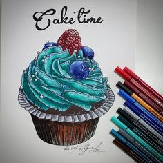 """158 Likes, 2 Comments - Yana Ed drawings & paintings (@artist.yanaed) on Instagram: """"It's #caketime!!! thanks for inspiration @cake.time Now, for today, it's my favorite drawing,…"""""""
