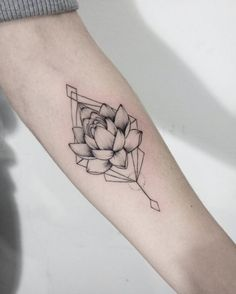 Geometric Lotus Flower Tattoo More