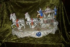 Large Sitzendorf Figurine Figural Group Carriage with horses Dresden Volkstedt