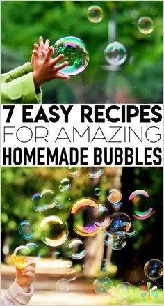 How to Make Bubbles: The Best Homemade Bubbles Recipes! - Emily Havard - How to Make Bubbles: The Best Homemade Bubbles Recipes! Bubble recipe: how to make homemade bubbles for kids with the best recipes! Diy Soap Bubbles, Kids Bubbles, Homemade Bubbles, Giant Bubbles, Homemade Bubble Wands, Bubble Solution Recipe, Homemade Bubble Solution, Homemade Bubble Recipe, Bubble Recipes