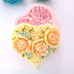 3D Heart Flowers Silicone Mold Fondant Molds Sugar Craft Tools Chocolate Mould  For Cakes – USD $ 7.99