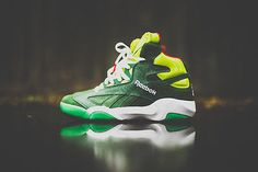 "Mens Reebok Pump Shaq Attaq ""Christmas Grinch"" Sneakers New, Green V61428"