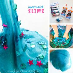 Sparkly Mermaid Slime- the perfect sensory play recipe for your mermaid-loving child. A fun twist on mermaid play dough, slime is not sticky or hard to make Mermaid Party Games, Mermaid Parties, Crafts For Kids To Make, Crafts For Teens, Mermaid Slime, Activity Games, Activities, Diy And Crafts Sewing, Mermaid Birthday