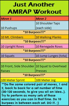 Just another AMRAP workout that we did at bootcamp! :D