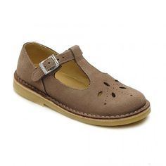 Lottie III, Taupe Suede Girls Buckle Classic Sandals - Girls Shoes
